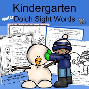 Kindergarten Worksheets- Sight words for winter