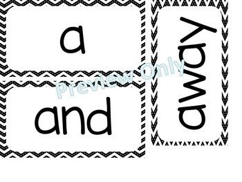 Kindergarten Dolch Sight Words ~ Black Chevron ~ Word Wall Cards