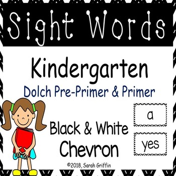 Kindergarten Dolch Sight Words ~ Black Chevron ~ Word Wall Cards