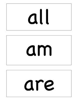 Kindergarten Dolch Sight Words Flash Cards