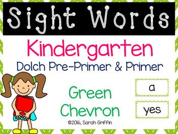 Kindergarten Dolch Sight Words ~ Green Chevron