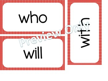 Kindergarten Dolch Sight Words ~ Red Polka Dots ~ Word Wall Cards