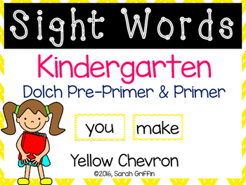Kindergarten Sight Words ~ Yellow Chevron