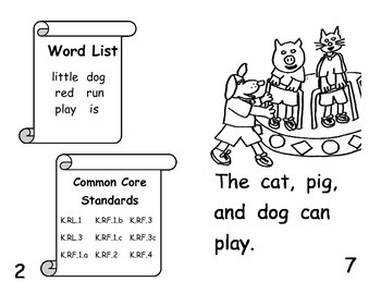 Common Core Kindergarten Dolch Sight Words and Reader - Cat and Little Dog