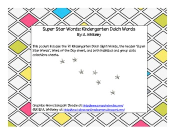 Kindergarten Dolch Super Star Words