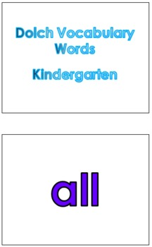 Kindergarten Dolch Vocabulary Sight Words PowerPoint and Flash Cards #1