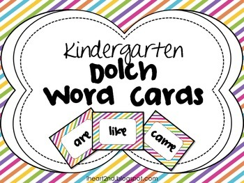 Kindergarten Dolch Word Cards