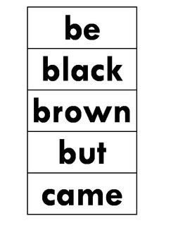 Kindergarten Dolch Word Wall Words