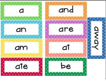 Kindergarten Dolche Word Wall Words- Small