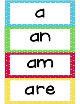 Kindergarten Dolche Word Wall Words- Large