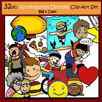 Kindergarten Doodles 32 pc. Clip-Art Set: 16 B&W, 16 Color