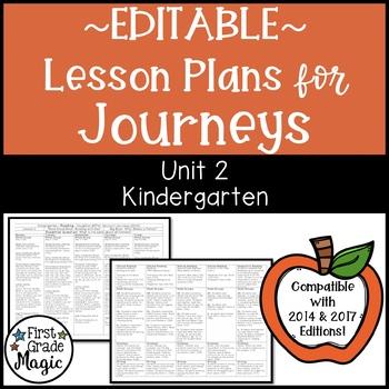 Kindergarten EDITABLE Lesson Plans Journeys Unit 2