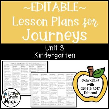 Kindergarten EDITABLE Lesson Plans Journeys Unit 3