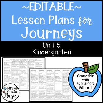 Kindergarten EDITABLE Lesson Plans Journeys Unit 5