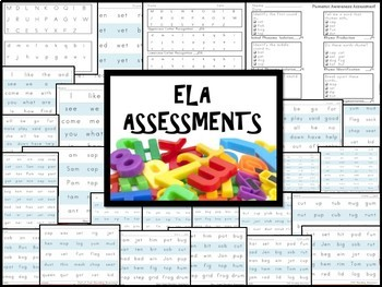 Kindergarten ELA Assessments Package - 25 pages ENTIRE YEAR Phonics, Letters