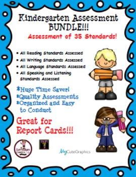 Kindergarten ELA Assessment Bundle:  35 Standards Assessed!!!