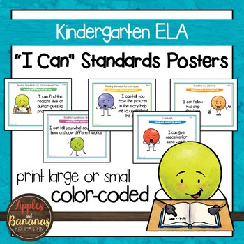 "Kindergarten ELA Common Core ""I Can"" Classroom Posters and Statement Cards"