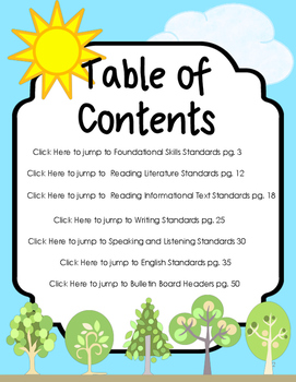 "Kindergarten ELA Common Core ""I Can"" Statements"