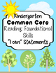 "Kindergarten ELA Common Core ""I Can"" Statements"
