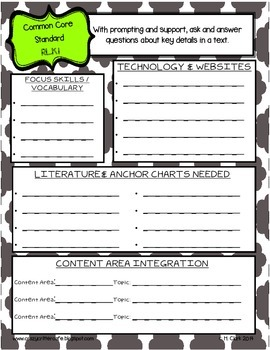Kindergarten ELA Common Core Quick Overview Planning & Documentation Forms