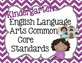 Kindergarten ELA Common Core Standard Posters