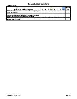 Kindergarten ELA Common Core Standards for Student Tracking