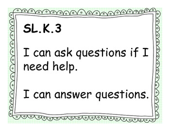 Kindergarten ELA Common Core for Posting - Green Background