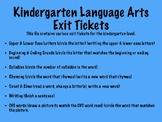Kindergarten ELA Exit Tickets