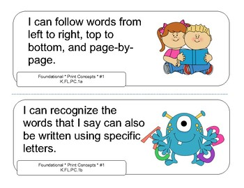 Kindergarten ELA I CAN STATEMENTS for the 2017-2018 TN Academic Standards