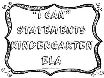 Kindergarten ELA I Can Statements Black & White Frame