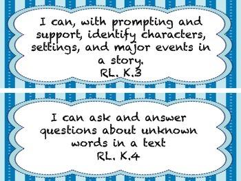 Kindergarten ELA I Can Statements Blue Frame * All ELA Standards