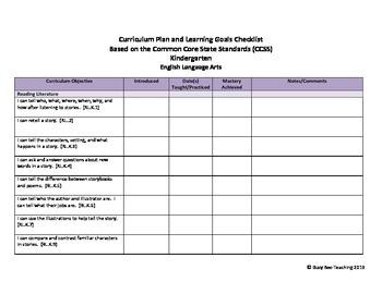 Kindergarten ELA & Math CCSS Checklist - kid friendly with I can statements