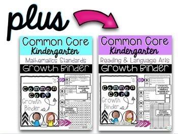 Kindergarten ELA & Math Common Core Assessments + Growth Binder HUGE BUNDLE