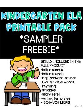 Kindergarten ELA Printable MEGA Pack *SAMPLER*