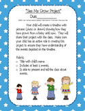 "Kindergarten ELA ""See Me Grow"" project parent flyer"