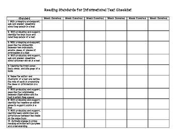 Kindergarten ELA Standards Checklist