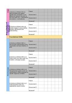 Kindergarten ELA Standards Data Sheet