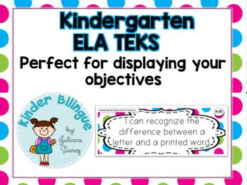 Kindergarten ELA TEKS (English Language Arts) in Polka Dots