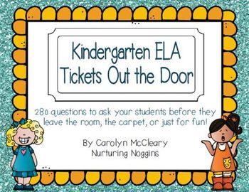 Kindergarten ELA Tickets Out the Door