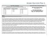 Common Core Kindergarten ELA Unit Plan -Nursery Rhymes and Fables (Unit 1)