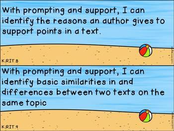 "Kindergarten ELA and Math CCSS ""I Can"" Statements: Beach-Themed"