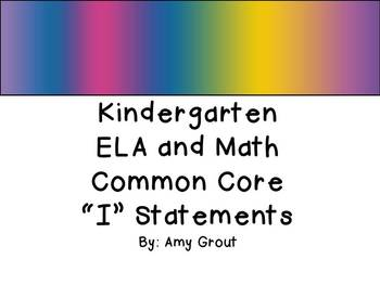 """Kindergarten ELA and Math CCSS """"I Can"""" Statements: Groovy-Themed"""