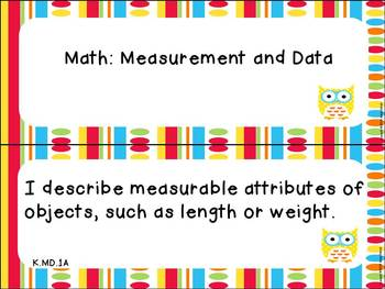 """Kindergarten ELA and Math CCSS """"I Can"""" Statements: Owl-Themed"""