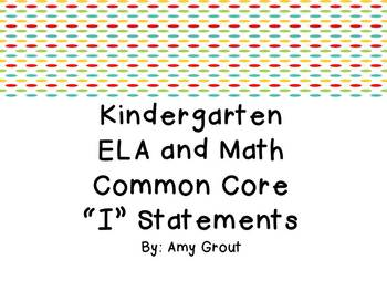 "Kindergarten ELA and Math CCSS ""I Can"" Statements: Owl-Themed"