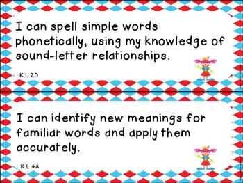 "Kindergarten ELA and Math CCSS ""I Can"" Statements:Circus-Themed"