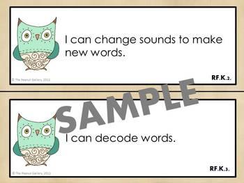 Kindergarten ELA and Math Common Core Posters (Artsy Owl Theme)