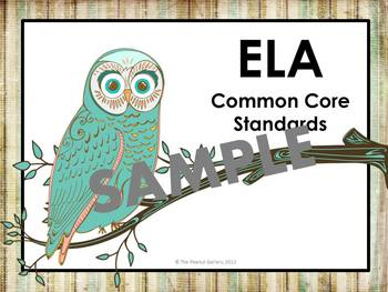 Kindergarten ELA and Math Common Core Posters (Artsy Owl Theme)