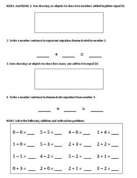 Kindergarten EOY End of Year Math Common Core Assessment
