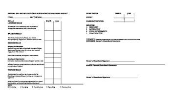 Kindergarten ESL Progress Report Card