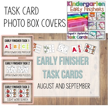 Kindergarten Early Finisher Task Card COVERS - August and September